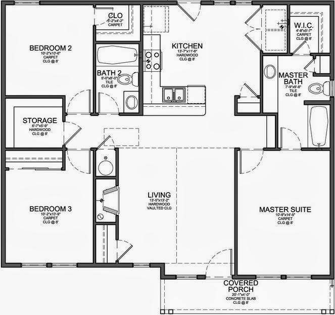Plano de casa de 3 dormitorios en 120 metros cuadrados