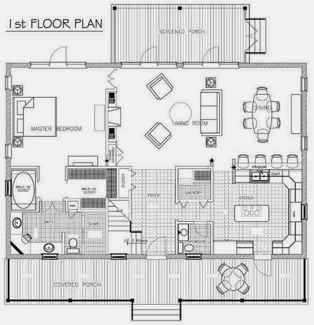 Plano de casa de 3 habitaciones, con porche y 2 pisos