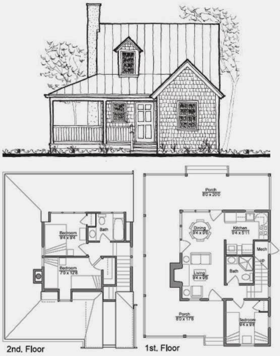 Plano de casa de dos pisos con estilo r stico for Planos y fachadas de casas pequenas de dos plantas