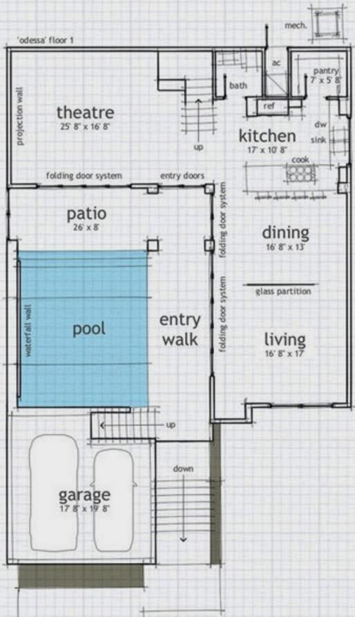 Altura de techo casas americanas for Plano alberca