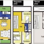Plano de casa angosta de 3 pisos