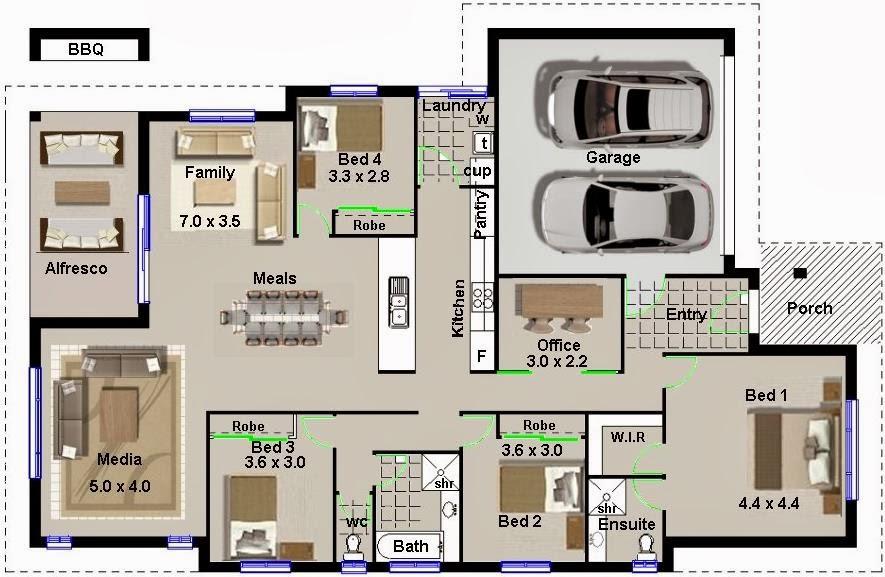 Plano de casa de 220 metros cuadrados con garage doble