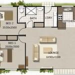 Plano de casa de 80 metros cuadrados con 2 dormitorios