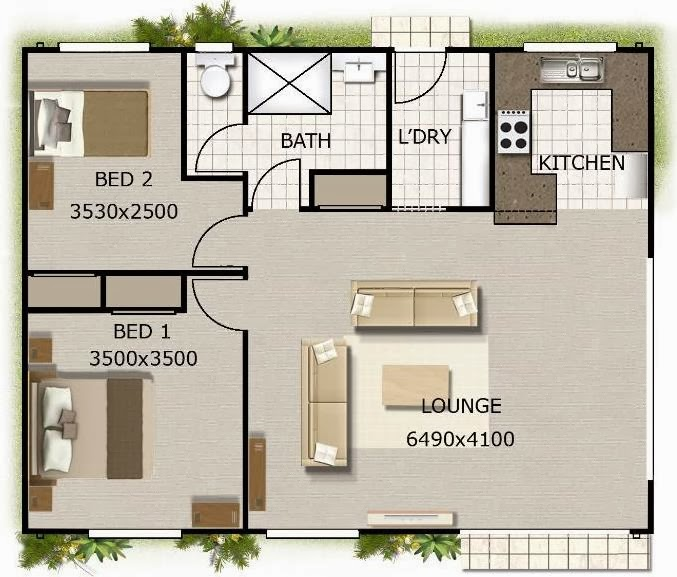 Baño Con Antebaño Medidas:Detalle del plano de casa de 80 metros cuadrados con 2 dormitorios