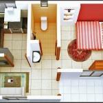 Plano de casa pequeña de 1 dormitorio en 3D
