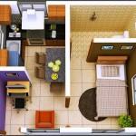 Plano de departamento acogedor con 1 dormitorio