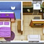 Plano de departamento en 3D sin comedor
