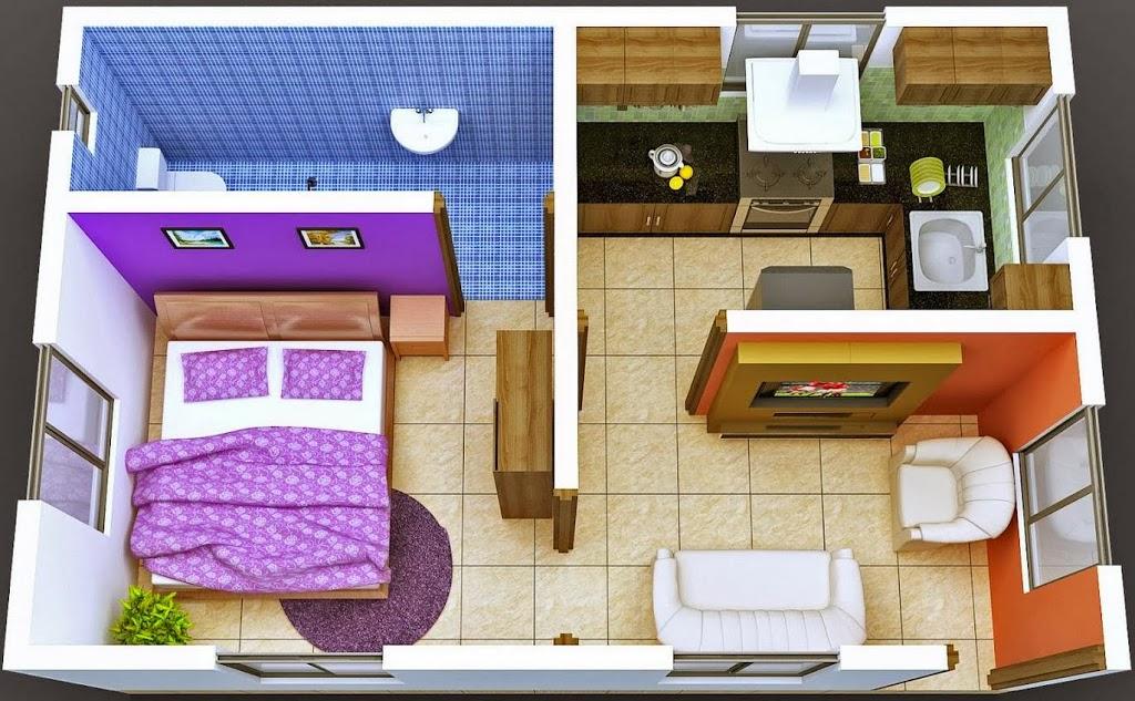 Plano de sala garas dos dormitorio y cocina comedor for Planos para una cocina pequena