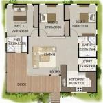 Plano de casa de 3 dormitorios con deck frontal