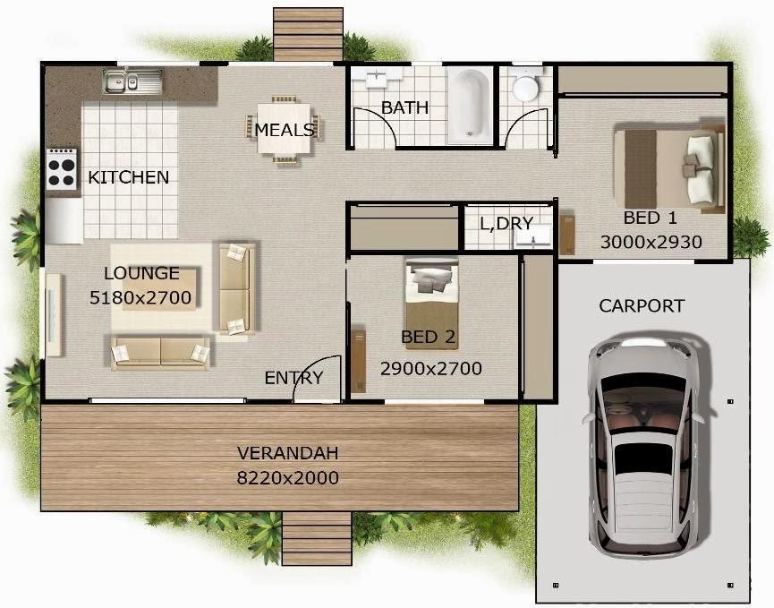 Plano de casa elevada con 2 dormitorios y garaje