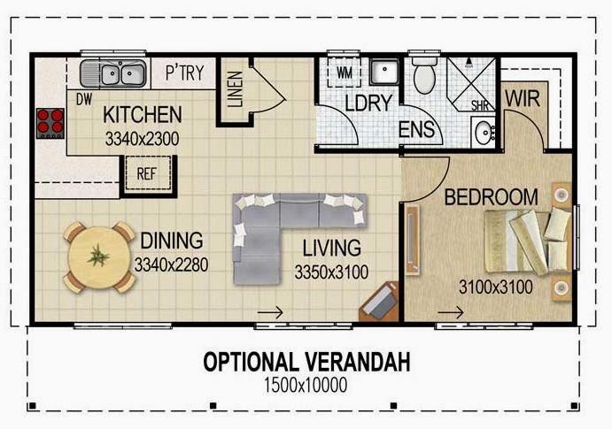 Plano de departamento moderno y ancho