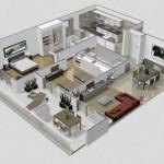 Plano de departamento en 3 dimensiones con 2  dormitorios