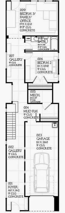 Plano de casa angosta de 2 pisos