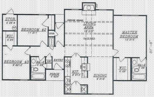 Plano de casa de 120 metros cuadrados y estilo americano