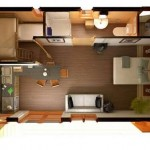 Plano de departamento de 1 dormitorio en 3D