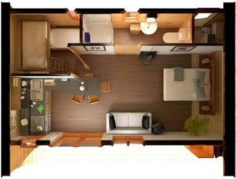 Plano 3d for Planos de departamentos de 40m2