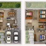 Plano de casa de 2 pisos con jardín frontal y garaje para 2 vehículos