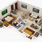 Plano de departamento moderno de 2 dormitorios en 3 dimensiones