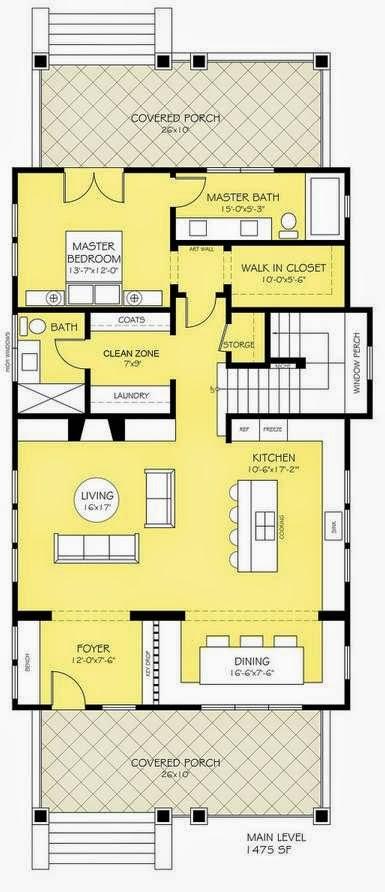 Plano de casa angosta con 2 pisos y porche