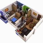 Plano de departamento de 2 dormitorios en 3D