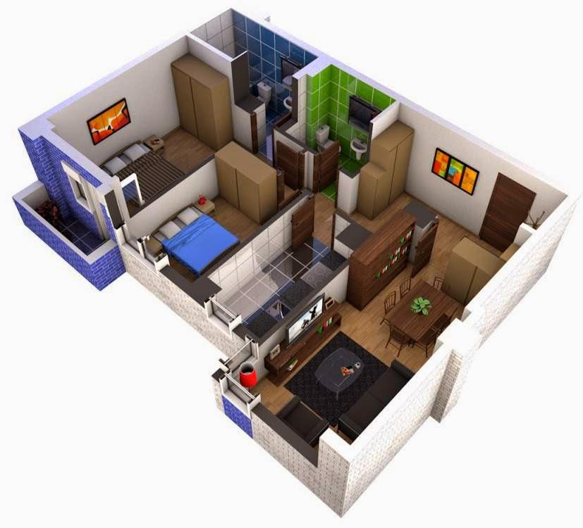 Modelo de departamento en 3d 90m2 planos de casas for Plano departamento 2 dormitorios