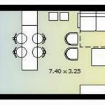 Plano de monoambiente de 30 metros cuadrados