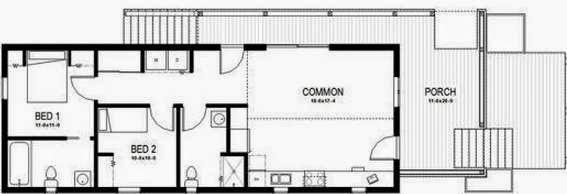 Plano de casa de 2 dormitorios, 2 baños en una planta