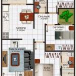 Plano de casa de 3 dormitorios con patio interno