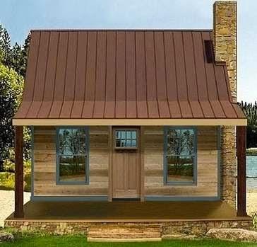 Plano de casa de campo con porche y 2 dormitorios
