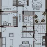 Plano de departamento de 120 metros cuadrados