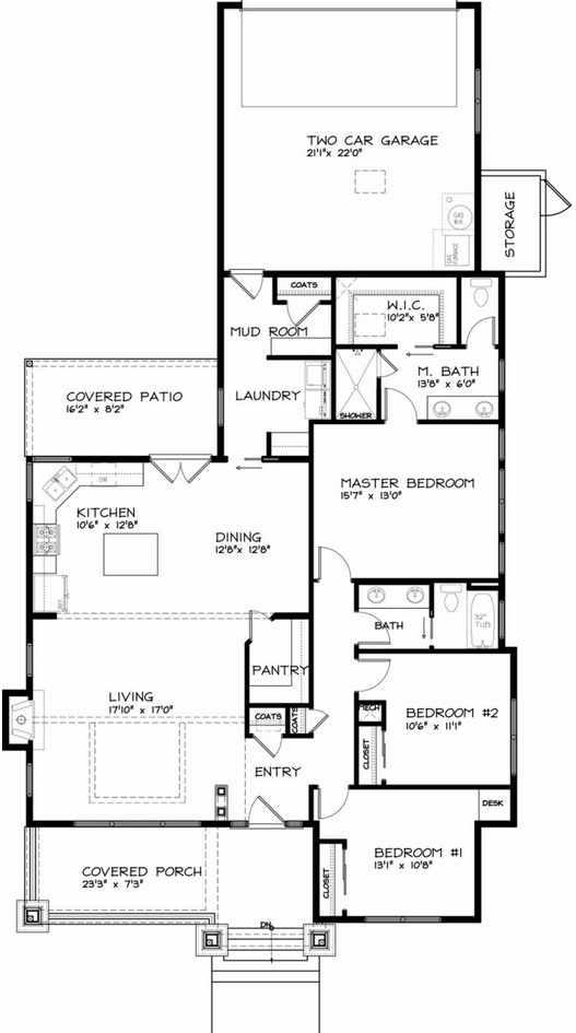Plano de casa de 1 piso y garage doble