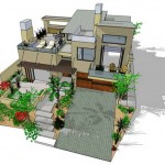 Plano de casa grande y moderna