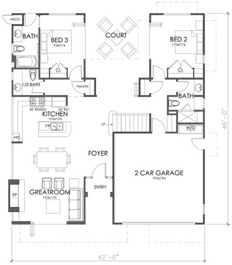 Hwepl12287 together with Small 4 Bedroom House Plans further Floor Plans Under 2500 Sq Ft likewise 3065 likewise Planodecasa. on ranch house plans no garage
