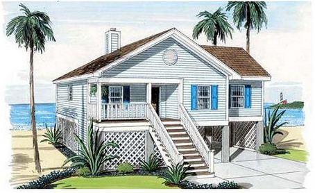 Fachada de casa de playa con garaje