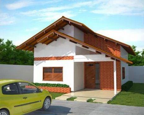 Fachada de casa modesta de 73 m2 en un piso