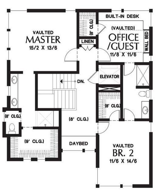 Plano de casa con ascensor