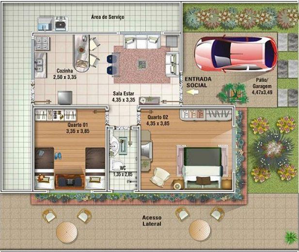 Plano de casa modesta de 73 m2 en un piso