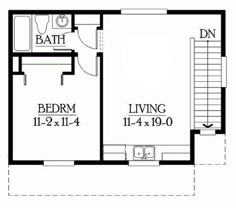Plano de departamento de un dormitorio con garage doble