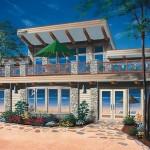 Plano de casa de playa de 2 pisos