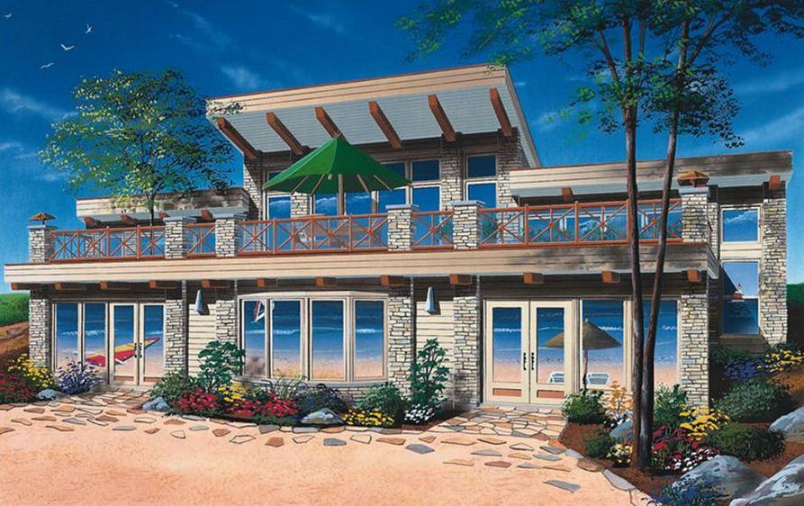 Fachada de casa de playa de 2 pisos