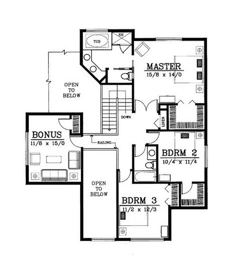 Plano de chalet moderno de dos pisos