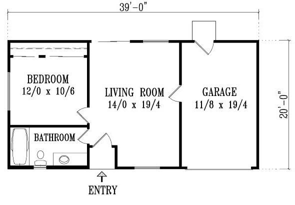 Plano de casa de 1 dormitorio con garage