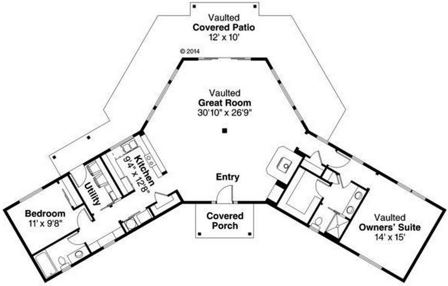 Plano de casa de 149 metros cuadrados