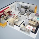 Plano de casa de 2 dormitorios en 3D