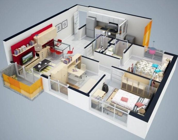 Plano de casa de 2 dormitorios en 3d - Planos en 3d de casas ...