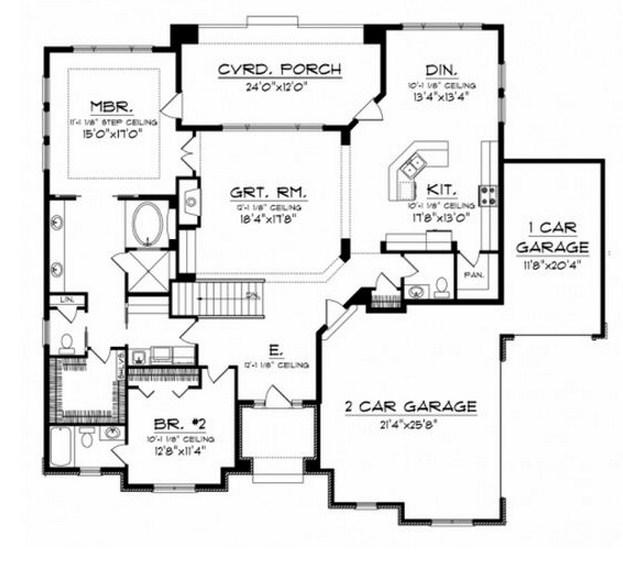 Plano de casa de 200 m2 y 2 dormitorios