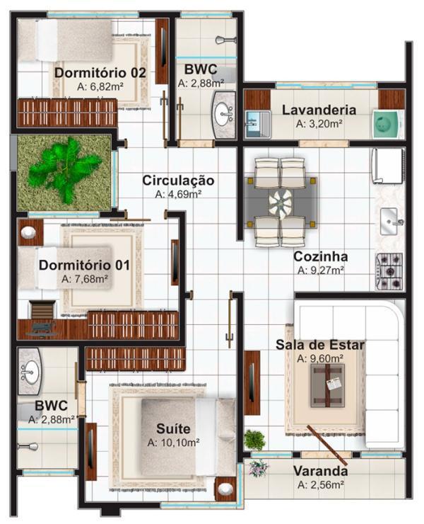Plano de casa de 70m2