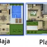 Plano de casa con jardin y piscina