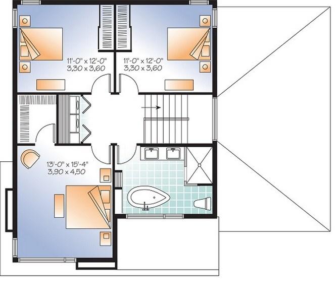 Plano de casa de dos pisos con garage lateral pasante
