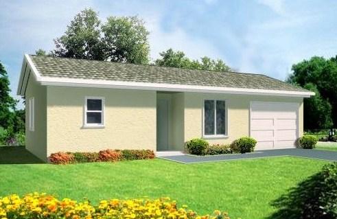 Plano de casa de un dormitorio con garage